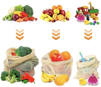 Zöldségek, gyümölcsök tárolására. Zöld konyha, hálós táska